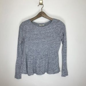 madewell babydoll long sleeve slub blouse top